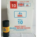 Royal Lester 10 Heavy Duty Black Bin Bags on a roll